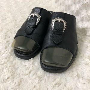 Brighton black leather slipper sandal